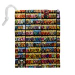 Flower Seeds For Sale At Garden Center Pattern Drawstring Pouches (Extra Large) Back