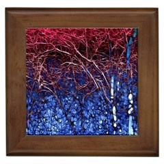 Autumn Fractal Forest Background Framed Tiles by Amaryn4rt