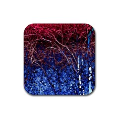 Autumn Fractal Forest Background Rubber Square Coaster (4 Pack)  by Amaryn4rt