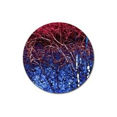 Autumn Fractal Forest Background Magnet 3  (round) by Amaryn4rt