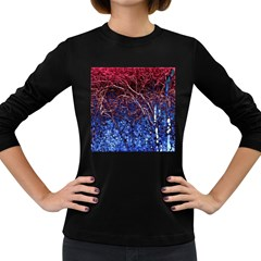 Autumn Fractal Forest Background Women s Long Sleeve Dark T Shirts by Amaryn4rt