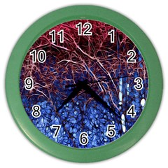 Autumn Fractal Forest Background Color Wall Clocks by Amaryn4rt