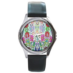 Wallpaper Created From Coloring Book Round Metal Watch by Amaryn4rt