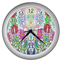 Wallpaper Created From Coloring Book Wall Clocks (silver)  by Amaryn4rt