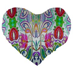 Wallpaper Created From Coloring Book Large 19  Premium Heart Shape Cushions by Amaryn4rt