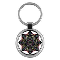 Mandala Abstract Geometric Art Key Chains (round)  by Amaryn4rt