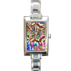 Magic Fractal Flower Multicolored Rectangle Italian Charm Watch by EDDArt