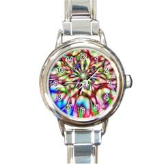 Magic Fractal Flower Multicolored Round Italian Charm Watch by EDDArt