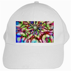 Magic Fractal Flower Multicolored White Cap by EDDArt