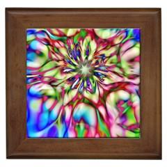 Magic Fractal Flower Multicolored Framed Tiles by EDDArt