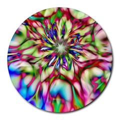 Magic Fractal Flower Multicolored Round Mousepads by EDDArt