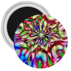 Magic Fractal Flower Multicolored 3  Magnets by EDDArt