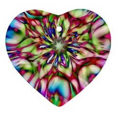 Magic Fractal Flower Multicolored Ornament (heart) by EDDArt