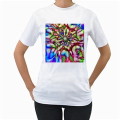 Magic Fractal Flower Multicolored Women s T Shirt (white) (two Sided) by EDDArt