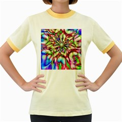 Magic Fractal Flower Multicolored Women s Fitted Ringer T Shirts by EDDArt