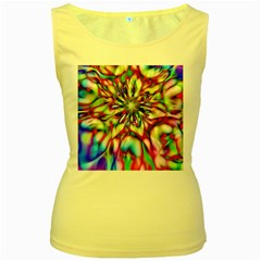 Magic Fractal Flower Multicolored Women s Yellow Tank Top by EDDArt