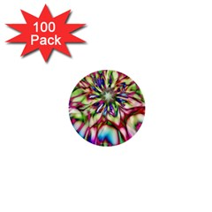 Magic Fractal Flower Multicolored 1  Mini Buttons (100 Pack)  by EDDArt