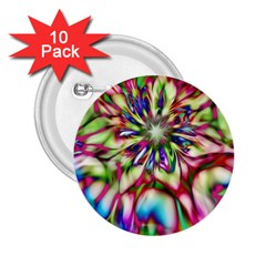 Magic Fractal Flower Multicolored 2 25  Buttons (10 Pack)  by EDDArt