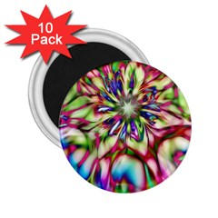 Magic Fractal Flower Multicolored 2 25  Magnets (10 Pack)  by EDDArt