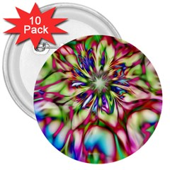 Magic Fractal Flower Multicolored 3  Buttons (10 Pack)  by EDDArt