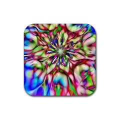 Magic Fractal Flower Multicolored Rubber Coaster (square)  by EDDArt