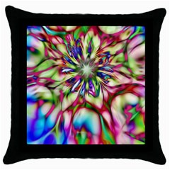 Magic Fractal Flower Multicolored Throw Pillow Case (black) by EDDArt