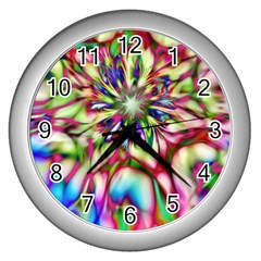 Magic Fractal Flower Multicolored Wall Clocks (silver)  by EDDArt