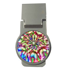 Magic Fractal Flower Multicolored Money Clips (round)  by EDDArt