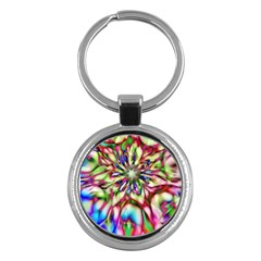 Magic Fractal Flower Multicolored Key Chains (round)  by EDDArt