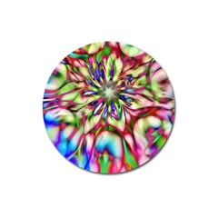 Magic Fractal Flower Multicolored Magnet 3  (round) by EDDArt
