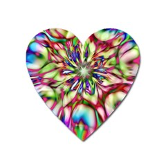 Magic Fractal Flower Multicolored Heart Magnet by EDDArt