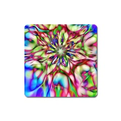 Magic Fractal Flower Multicolored Square Magnet by EDDArt
