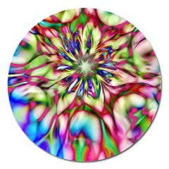 Magic Fractal Flower Multicolored Magnet 5  (round) by EDDArt