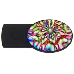 Magic Fractal Flower Multicolored Usb Flash Drive Oval (2 Gb) by EDDArt