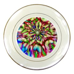 Magic Fractal Flower Multicolored Porcelain Plates by EDDArt