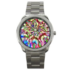 Magic Fractal Flower Multicolored Sport Metal Watch by EDDArt