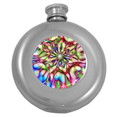 Magic Fractal Flower Multicolored Round Hip Flask (5 Oz) by EDDArt