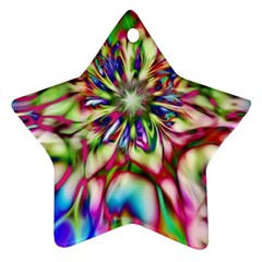Magic Fractal Flower Multicolored Star Ornament (two Sides) by EDDArt