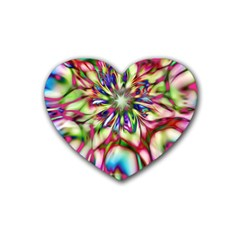Magic Fractal Flower Multicolored Rubber Coaster (heart)  by EDDArt