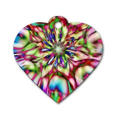 Magic Fractal Flower Multicolored Dog Tag Heart (two Sides) by EDDArt