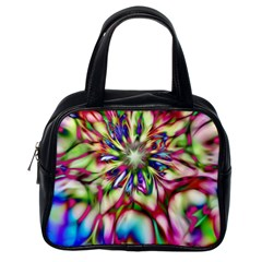 Magic Fractal Flower Multicolored Classic Handbags (one Side) by EDDArt