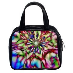 Magic Fractal Flower Multicolored Classic Handbags (2 Sides) by EDDArt