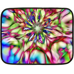 Magic Fractal Flower Multicolored Fleece Blanket (mini) by EDDArt