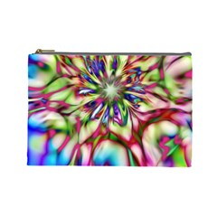 Magic Fractal Flower Multicolored Cosmetic Bag (large)  by EDDArt