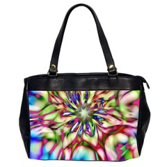 Magic Fractal Flower Multicolored Office Handbags (2 Sides)  by EDDArt