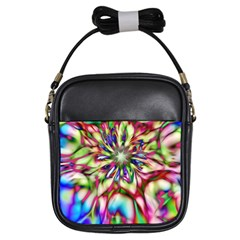 Magic Fractal Flower Multicolored Girls Sling Bags by EDDArt