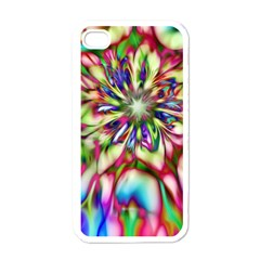 Magic Fractal Flower Multicolored Apple Iphone 4 Case (white) by EDDArt