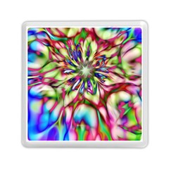 Magic Fractal Flower Multicolored Memory Card Reader (square)  by EDDArt