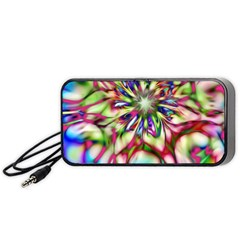 Magic Fractal Flower Multicolored Portable Speaker (black) by EDDArt