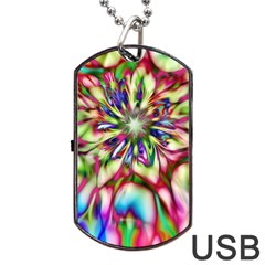 Magic Fractal Flower Multicolored Dog Tag Usb Flash (two Sides) by EDDArt